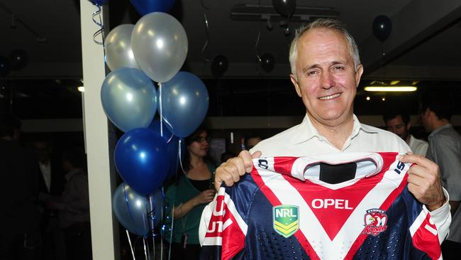 Big bird ... Malcolm Turnbull with a jersey from his NRL team the Sydney Roosters.