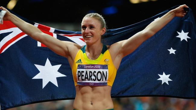 Sally Pearson celebrates after winning the gold medal in London.