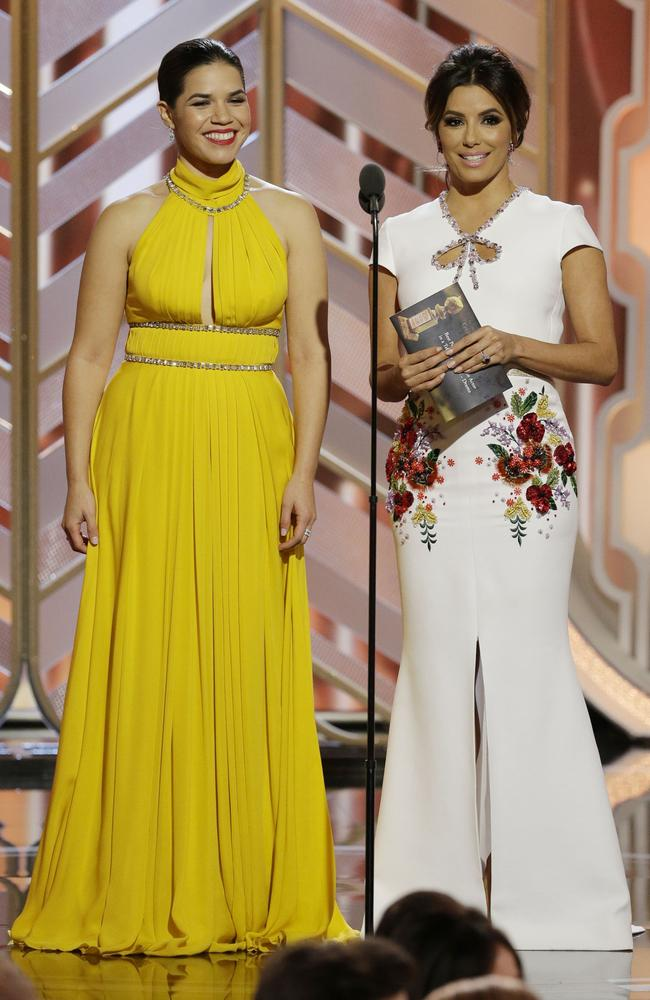 Presenters America Ferrera and Eva Longoria speak onstage during the 73rd Annual Golden Globe Awards at The Beverly Hilton Hotel on January 10, 2016 in Beverly Hills, California. (Photo by Paul Drinkwater/NBCUniversal via Getty Images)