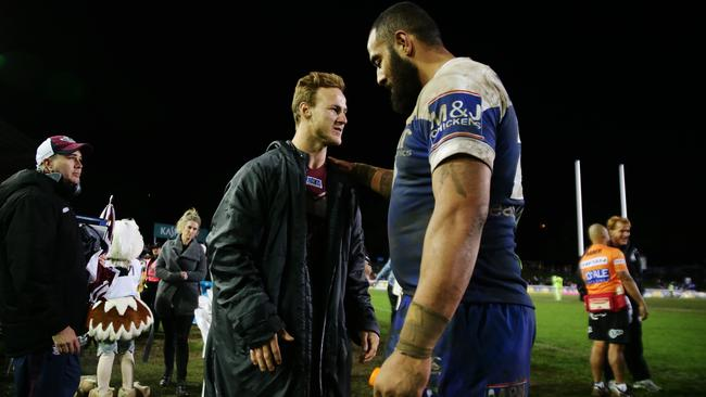 Cherry-Evans talks with Bulldog Sam Kasiano after the Sea Eagles' victory.