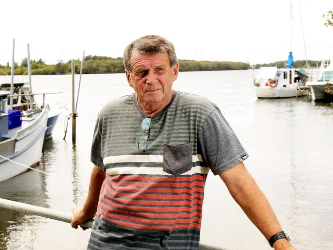 Hunter River trawlerman Kevin Radnidge at the Hexham Wharf near Newcastle. He decided not to fish for prawns because of contamination scare. Picture by Peter Lorimer.