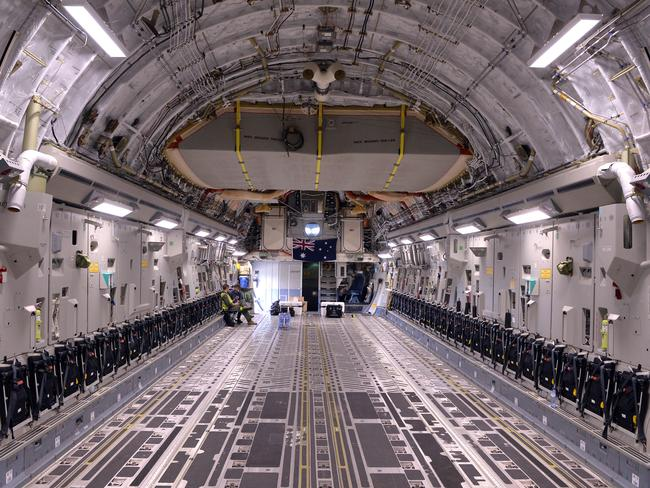 Belly of the beast ... a Globemaster C-17 RAAF plane that could be deployed for operations in Iraq. Picture: Ben Stevens / i-Images