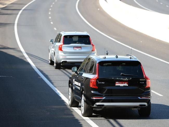 Driverless cars travelling down the southern Expressway. Picture: Dave Cronin