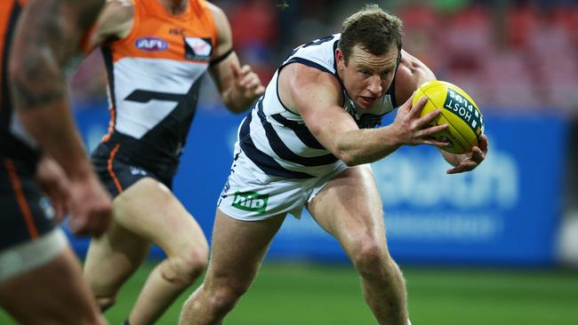 Geelong star Steve Johnson stretches out against GWS. Picture: Phil Hillyard