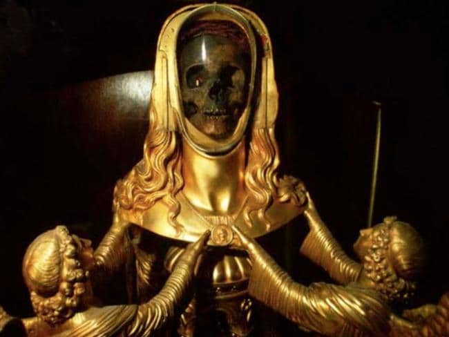 The golden reliquary from the basilica of Saint-Maximin-la-Sainte-Baume, in the south of France, said to contain the skull of Mary Magdalene.