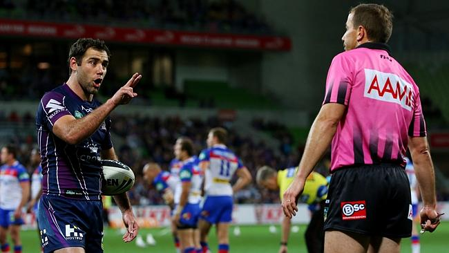 Cameron Smith not happy with referee Gerard Sutton during the second Semi final Melbourne Storm v Newcastle Knights.