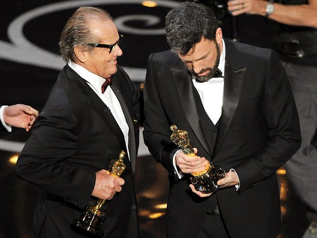 Jack Nicholson presents the best picture Oscar to Ben Affleck. Picture: AP