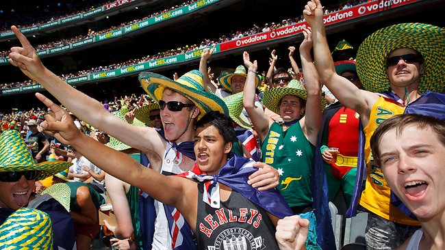 Aussie fans celebrate a wicket at the Boxing Day Test. Picture: Jake Nowakowski