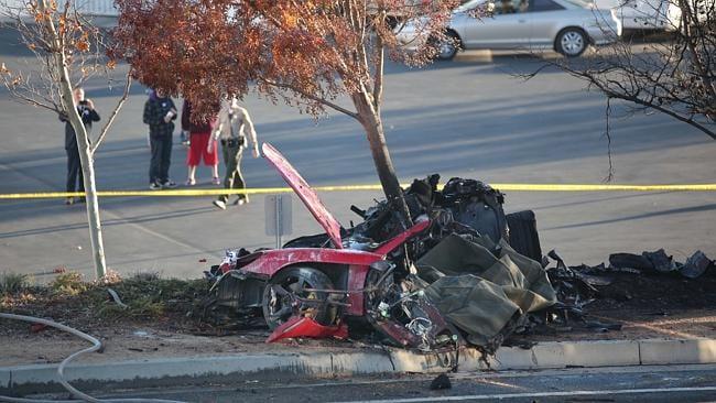 Shocking waste ... The aftermath of the tragic car crash that killed Paul Walker. Picture: Splash News