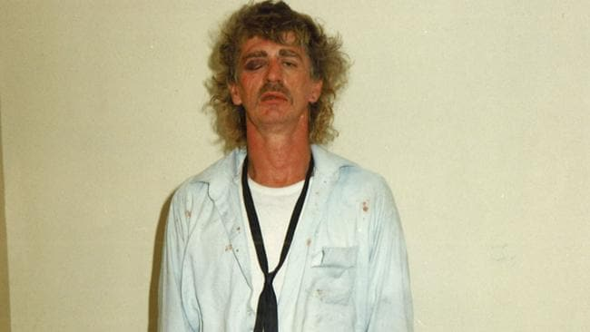 Larry Mauldon worse for wear after his arrest. Picture: Victoria Police