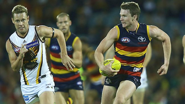 Adelaide midfielder Patrick Dangerfield takes off.