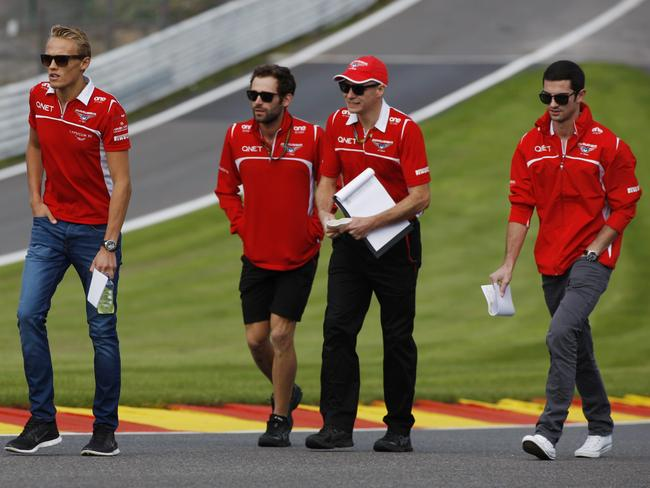 Both Chilton (L) and Rossi (R) took part in the team's pre-race track walk with engineers on Thursday.