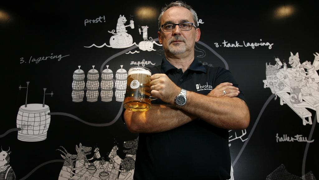 Eyke Czirr, executive chef at Brotzeit — his application to sell the traditional one-litre stein has been knocked back. Picture: Marie Nirme