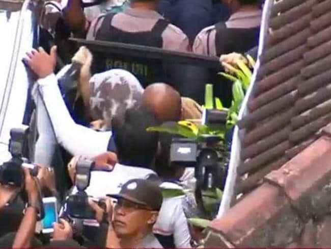 Schapelle Corby leaves her home in Bali before being deported. Picture: Channel Seven