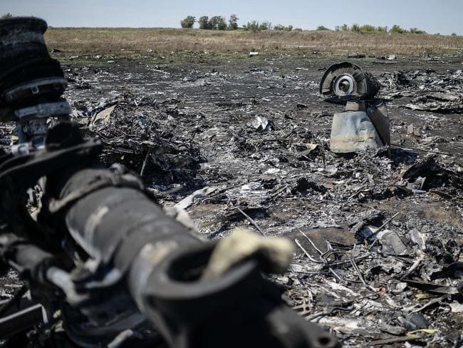 Crash site ... In total 298 people were killed when the Malaysian airliner was shot down over Ukraine on July 17. Picture: Bulent Kilic