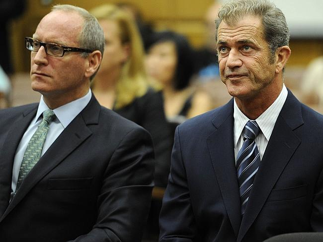 Mel Gibson with his lawyer Larry Ginsberg at the Los Angeles Superior Court in 2011 during the civil financial agreement between Gibson and his former girlfriend Grigorieva.