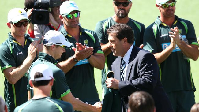 Mark Taylor (R) has backed Steve Smith's return as captain of the Australian Test team. Picture: Adam Head