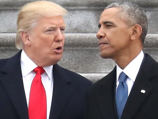 Donald Trump and former president Barack Obama on the day Mr Trump was sworn in as president. Picture: Rob Carr/AP