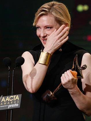 Overcome with emotion ... Cate Blanchett wipes away a tear. Picture: Brendon Thorne / Getty Images for AFI