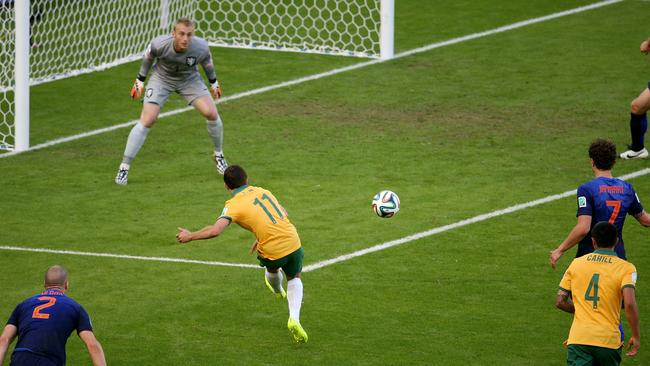 Tommy Oar crosses to Mathew Leckie against the Netherlands. He explains his thinking. Pic: George Salpigtidis
