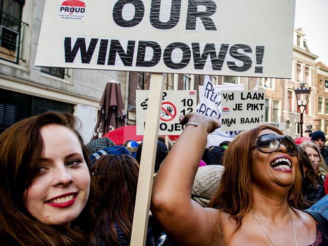 Stop closing our windows!: Sex workers and sympathisers demonstrate against Project 1012 last year. Picture: Robin Van Lonkhuijsen/AFP