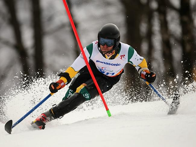Toby Kane of Australia competes in the Men's Slalom 1st Run — Standing during day six of Sochi 2014 Paralympic Winter Games.