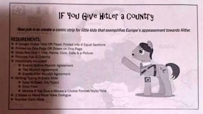 A Nazi-themed assignment given out to schoolchildren has caused upset among parents. Picture: Fox43