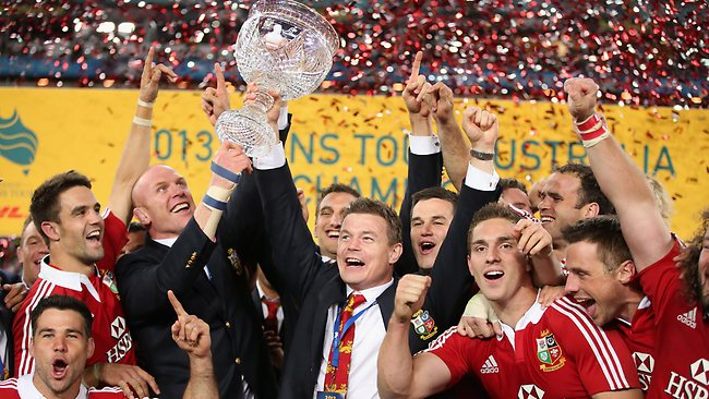 Brian O'Driscoll (R) and Paul O'Connell of the Lions raise Tom Richards Cup after their victory during the International Test match between the Australian Wallabies and British & Irish Lions at ANZ Stadium.