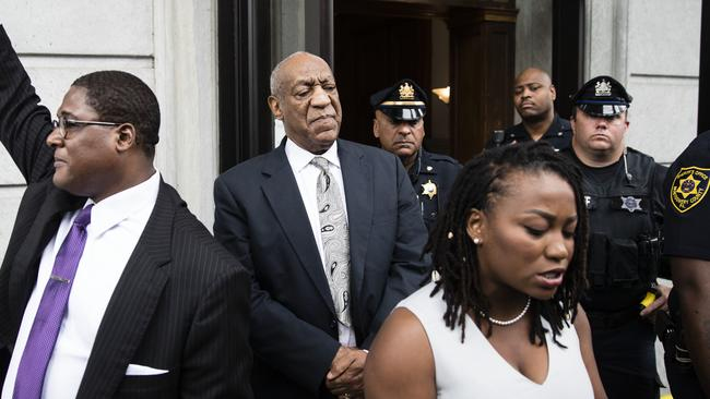 Bill Cosby listens to his wife Camille's statement being read aloud by Ebonee M. Benson outside the Montgomery County Courthouse after a mistrial in his sexual assault case. Picture: AP Photo
