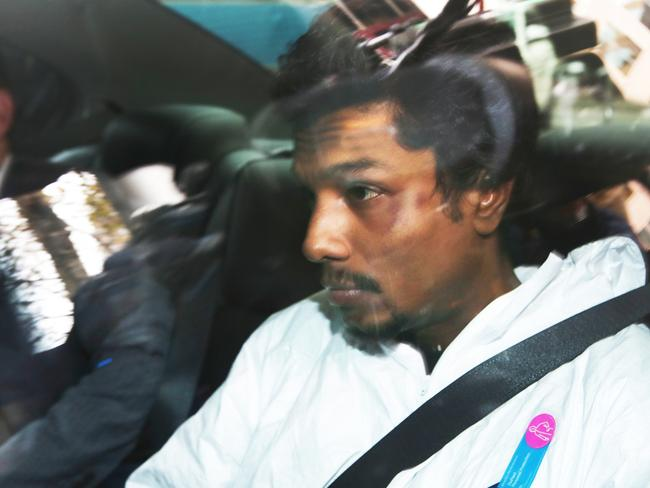 Sri Lankan man Manodh Monaragala Marks, 25, has been charged with threatening to destroy, kill or injure anyone on an aircraft and recklessly threatening to detonate an explosive device. Picture: AAP/David Crosling