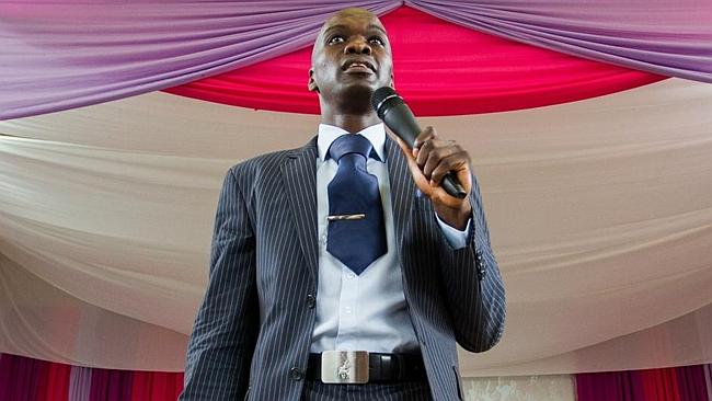 The leading man ... Pastor Lesego Daniel preaching during a religious ceremony at Rabboni