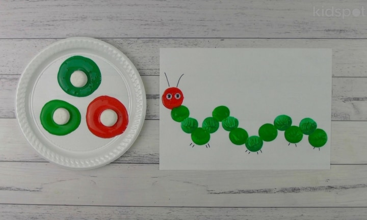 How to make a Caterpillar marshmallow painting