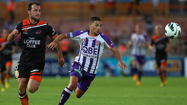 Ivan Franjic (L) of the Roar and Adrian Zahra of the Glory contest for the ball during the round 18 A-League match between the Perth Glory and the Brisbane Roar at nib Stadium
