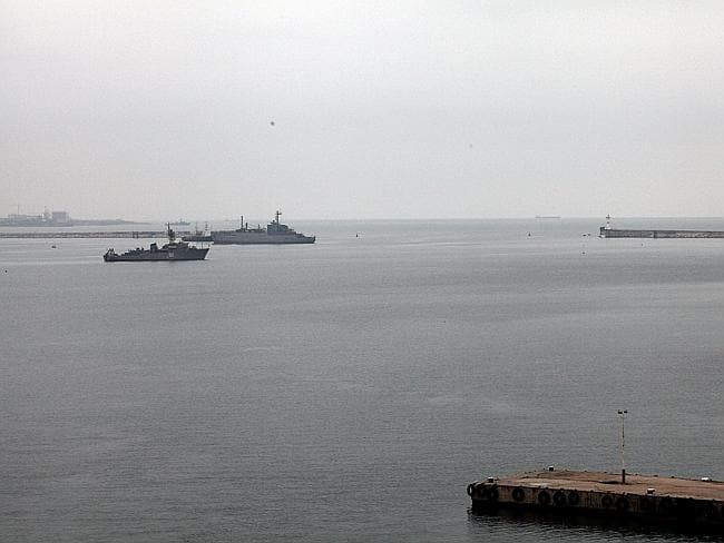 Access denied ... Russian warships block the entrance of the Port of Sebastopol in Crimea. Picture: Ella Pellegrini