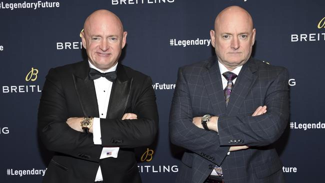Astronaut twins Mark Kelly, left, and Scott Kelly. Picture: Evan Agostini/Invision/AP