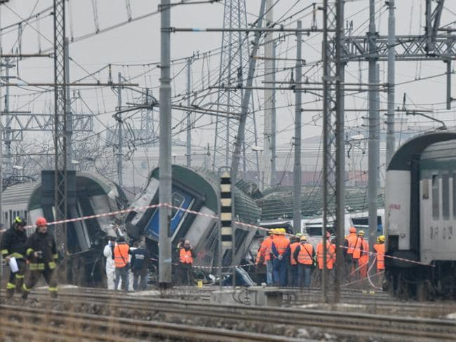 The packed regional train derailed near Milan during rush hour. Picture: AFP/Piero Cruciatti