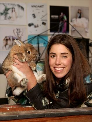 Photographer Gretl Watson-Blazewizz bring her pet rabbit Ferris on shoots. Picture: Tait Schmaal