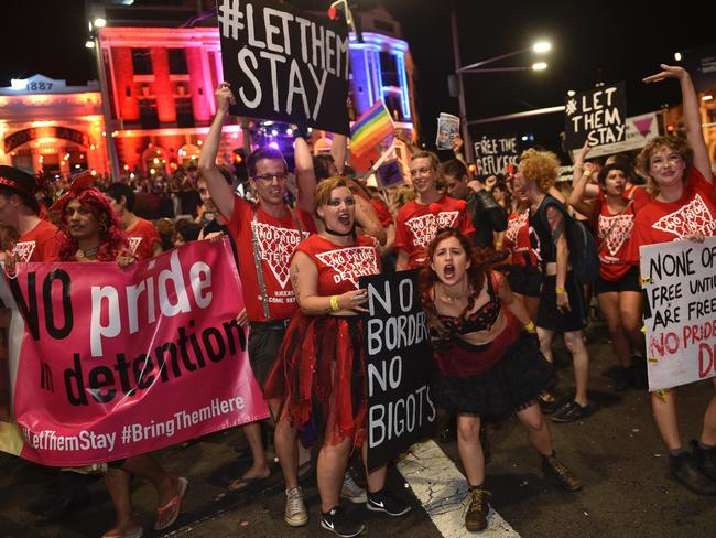 Protesters ... Participants take part in the annual Sydney Gay and Lesbian Mardi Gras Parade. Picture: AP.
