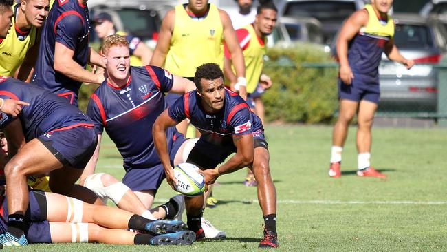 New colours — Genia on his first day at Rebels training. (Chris Gottaas)