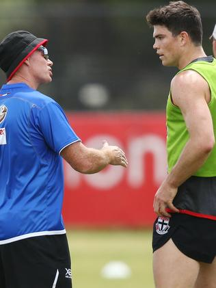 Sam Collins chats to St Kilda coach Alan Richardson. Picture: Getty