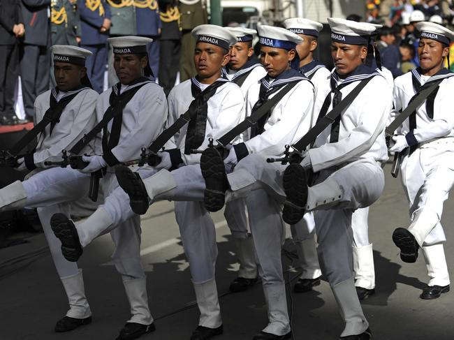 Some Bolivian navy personnel have never even seen the ocean. Picture: Jorge Bernal/AFP