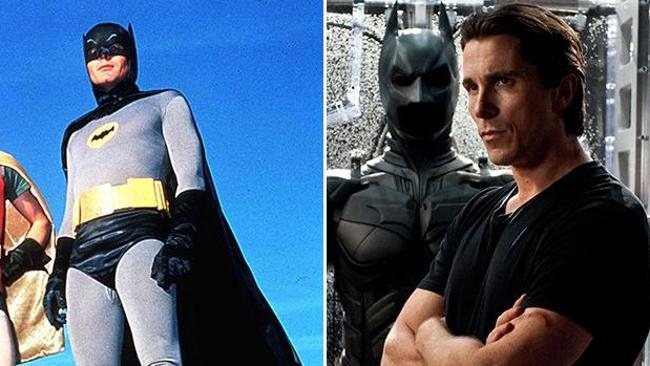 Adam West in the 1960s TV show Batman alongside the very buff Christian Bale in the newest remake of Batman.
