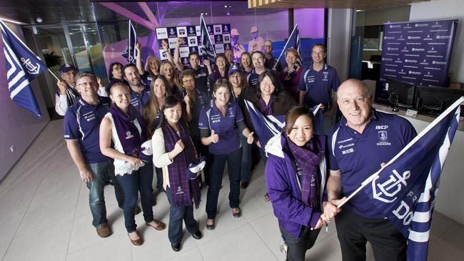 Staff from Decmil Australia got into last year's 'Wear Purple to Work Day' campaign, to show their support for the Fremantle Dockers. Fronting the campaign is Decmil Australia's Davina Kuntjoro and Ray Sputore.