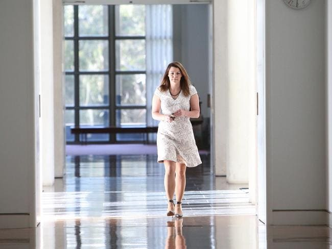 Greens Senator Sarah Hanson-Young in the corridors before a vote in Canberra. Picture: Kym Smith