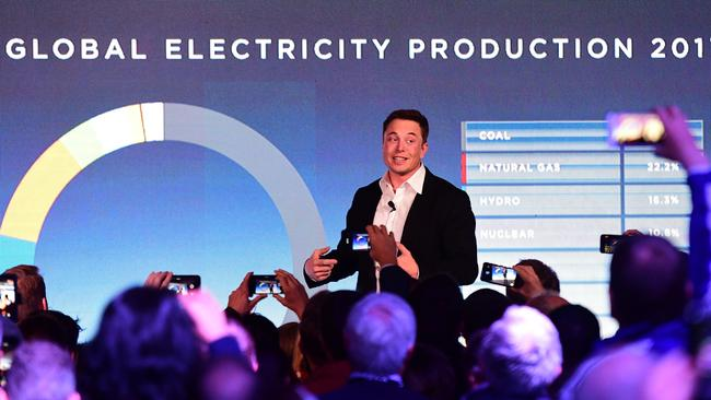 Elon Musk during his presentation at the Tesla Powerpack Launch Event at Hornsdale Wind Farm on September 29 in Adelaide. Picture: Mark Brake