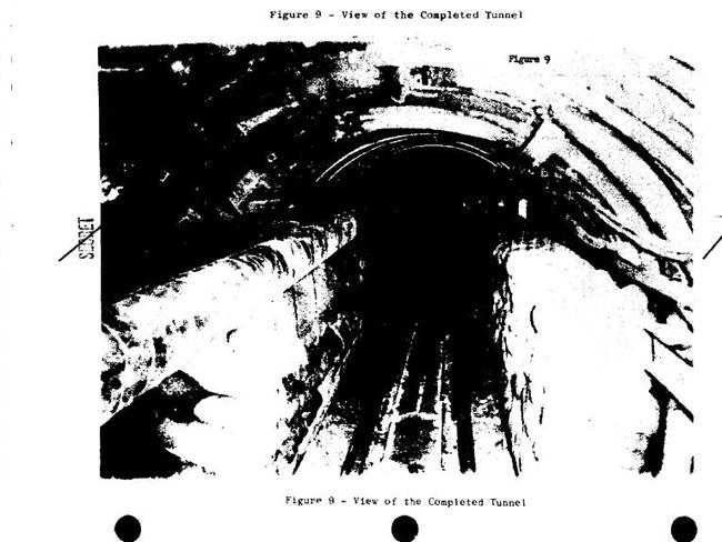 A scanned picture of the completed tunnel, which has been included in one of the many documents. Picture: National Archives