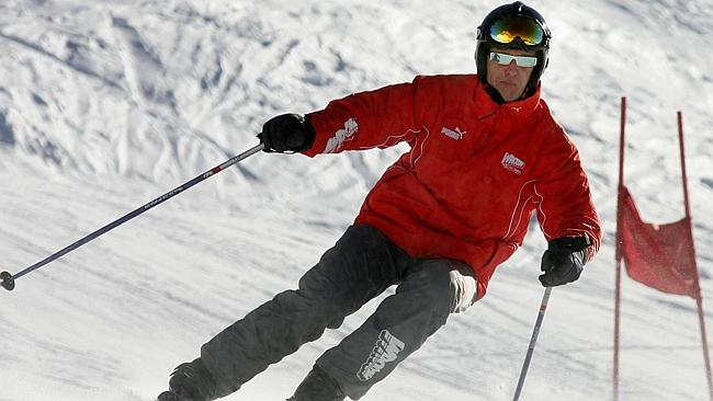 Schumacher competes during a slalom race in the Italian resort of Madonna di Campiglio in