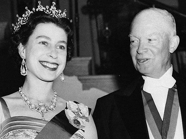 Queen with US Presidents: President Dwight D. Eisenhower with Queen Elizabeth II at the White House in 1957.