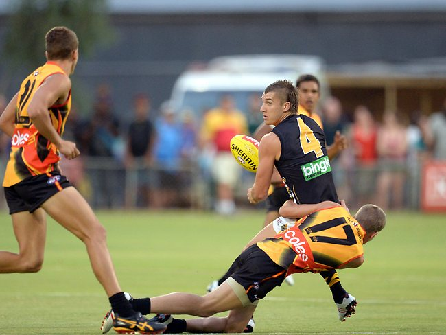 AllStars v Richmond,Alice Springs,Dustin Martin caught holding the ball, Picture: Wayne Ludbey