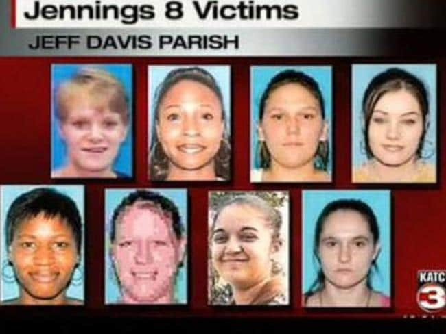 The eight women believed to have been killed by the Jennings Killer..